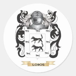 Escudo de armas de Lobos (escudo de la familia) Pegatina Redonda