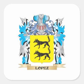 Escudo de armas de López - escudo de la familia Calcomania Cuadradas Personalizadas