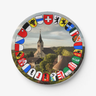 Escudo de armas de los cantones suizos platos de papel