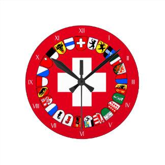 Escudo de armas de los cantones suizos reloj redondo mediano