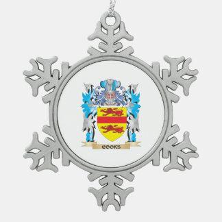 Escudo de armas de los cocineros - escudo de la adorno de peltre en forma de copo de nieve