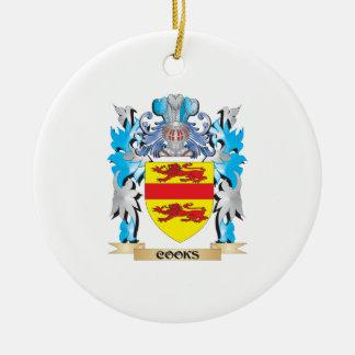 Escudo de armas de los cocineros - escudo de la adorno redondo de cerámica