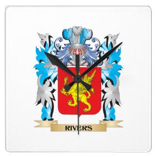 Escudo de armas de los ríos - escudo de la familia relojes de pared