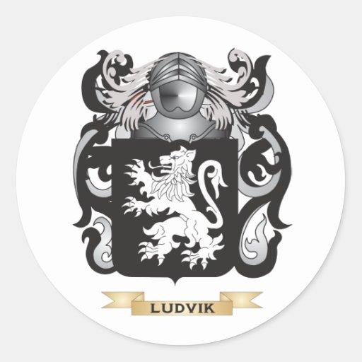 Escudo de armas de Ludvik (escudo de la familia) Etiquetas Redondas