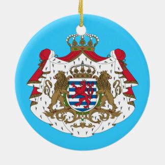 Escudo de armas de Luxembourg* Adorno Navideño Redondo De Cerámica
