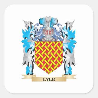 Escudo de armas de Lyle - escudo de la familia Pegatina Cuadrada