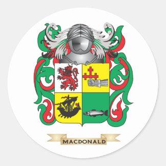 Escudo de armas de MacDonald- (pizarra) (escudo de Pegatina Redonda