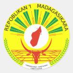 Escudo de armas de Madagascar Etiquetas Redondas