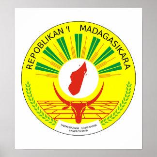 Escudo de armas de Madagascar Póster