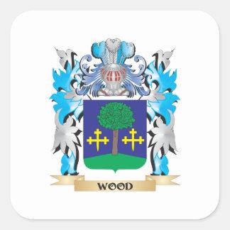 Escudo de armas de madera - escudo de la familia pegatina cuadrada