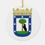 Escudo de armas de Madrid España Adorno Navideño Redondo De Cerámica