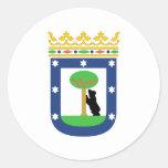 Escudo de armas de Madrid Pegatina Redonda