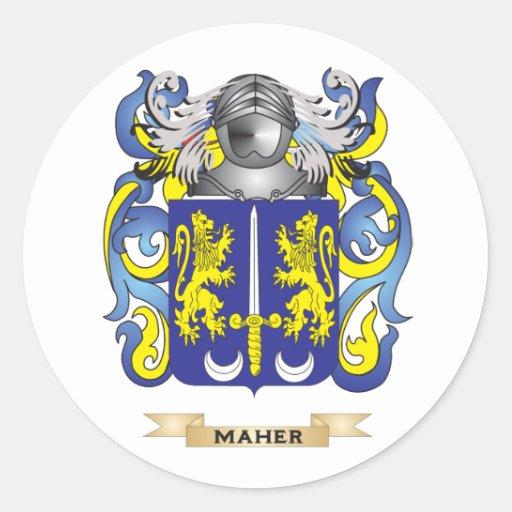 Escudo de armas de Maher (escudo de la familia) Etiquetas Redondas