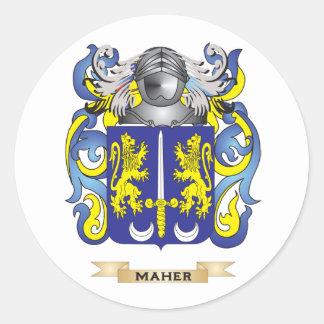 Escudo de armas de Maher (escudo de la familia) Pegatina Redonda