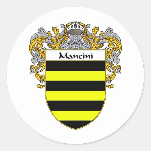 Escudo de armas de Mancini (cubierto) Etiquetas Redondas