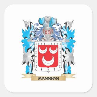 Escudo de armas de Mannion - escudo de la familia Calcomania Cuadradas Personalizada