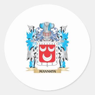 Escudo de armas de Mannion - escudo de la familia Etiqueta Redonda