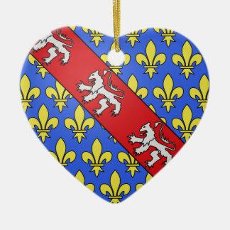 Escudo de armas de Marche (Francia) Adorno Navideño De Cerámica En Forma De Corazón
