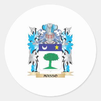 Escudo de armas de Masso - escudo de la familia Pegatinas Redondas