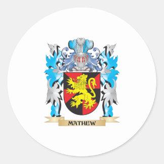 Escudo de armas de Mathew - escudo de la familia Pegatinas Redondas