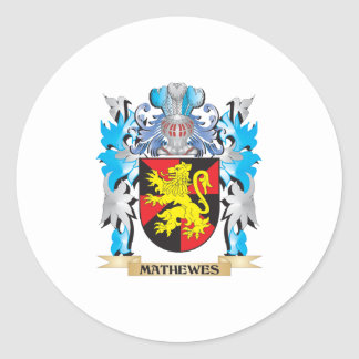 Escudo de armas de Mathewes - escudo de la familia Pegatina Redonda