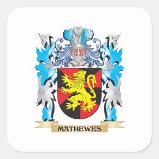 Escudo de armas de Mathewes - escudo de la familia Calcomanía Cuadrada