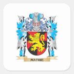 Escudo de armas de Mathie - escudo de la familia Pegatina Cuadrada
