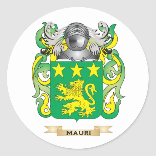 Escudo de armas de Mauri (escudo de la familia) Pegatina Redonda