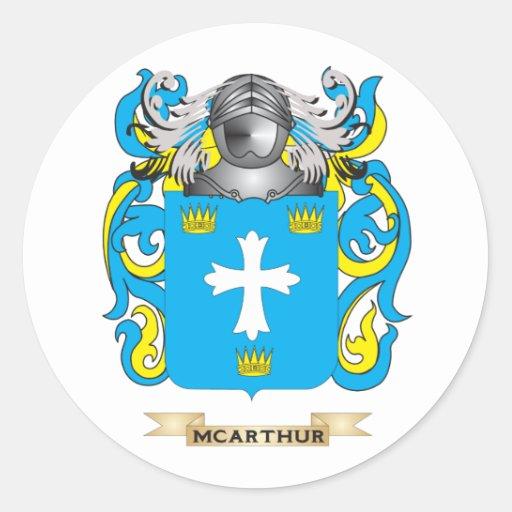 Escudo de armas de McArthur (escudo de la familia) Etiquetas Redondas