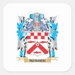 Escudo de armas de Mcbride - escudo de la familia Pegatina Cuadradas Personalizadas
