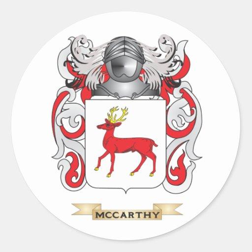 Escudo de armas de McCarthy (escudo de la familia) Etiquetas Redondas