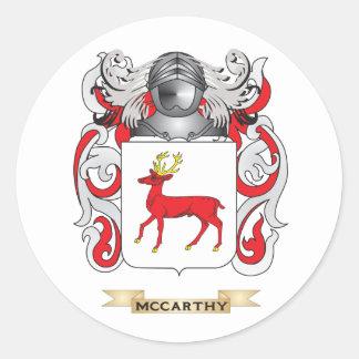 Escudo de armas de McCarthy (escudo de la familia) Pegatina Redonda