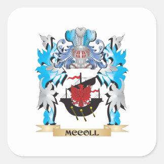 Escudo de armas de Mccoll - escudo de la familia Pegatinas Cuadradases