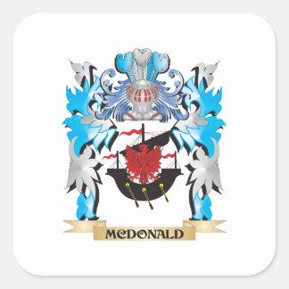 Escudo de armas de Mcdonald - escudo de la familia Calcomanias Cuadradas