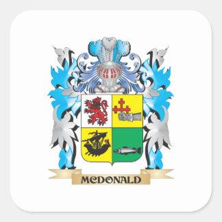 Escudo de armas de Mcdonald - escudo de la familia Calcomanía Cuadradas Personalizadas