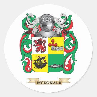 Escudo de armas de McDonald (pizarra) (escudo de Pegatina Redonda