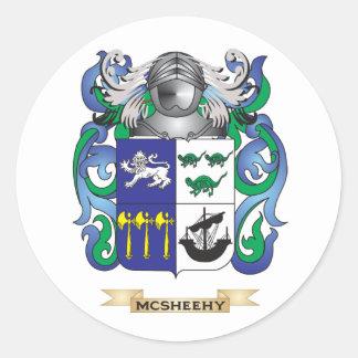 Escudo de armas de McSheehy (escudo de la familia) Pegatina Redonda