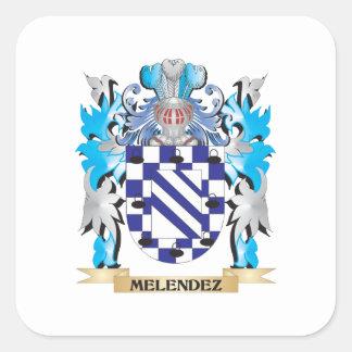 Escudo de armas de Melendez - escudo de la familia Calcomanía Cuadradase