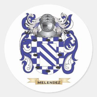 Escudo de armas de Melendez (escudo de la familia) Etiquetas Redondas