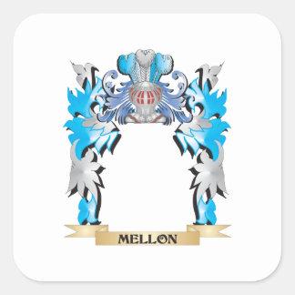 Escudo de armas de Mellon - escudo de la familia Calcomanía Cuadradas Personalizadas