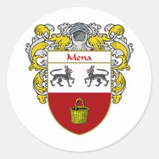 Escudo de armas de Mena (cubierto) Pegatina Redonda