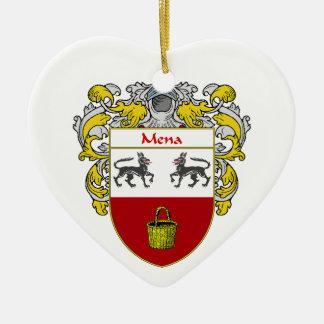 Escudo de armas de Mena/escudo de la familia Adorno Navideño De Cerámica En Forma De Corazón