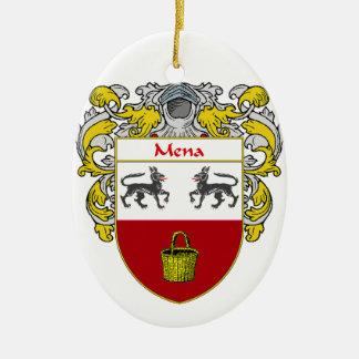 Escudo de armas de Mena/escudo de la familia Adorno Navideño Ovalado De Cerámica