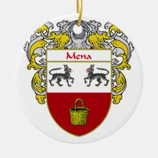 Escudo de armas de Mena/escudo de la familia Adorno Navideño Redondo De Cerámica