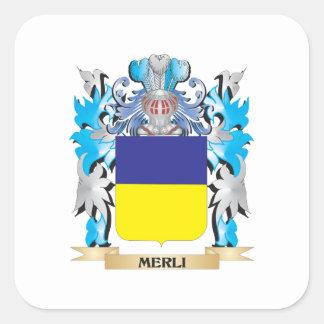 Escudo de armas de Merli - escudo de la familia Calcomania Cuadradas Personalizadas