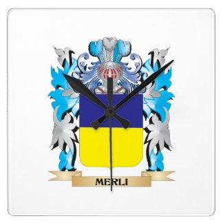 Escudo de armas de Merli - escudo de la familia Reloj De Pared