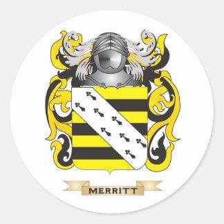 Escudo de armas de Merritt (escudo de la familia) Etiqueta Redonda