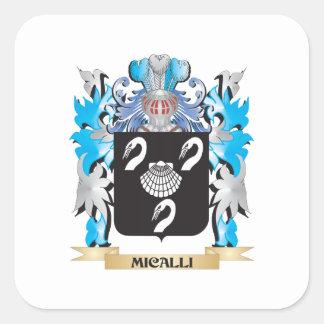 Escudo de armas de Micalli - escudo de la familia Calcomanía Cuadrada Personalizada
