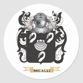 Escudo de armas de Micalli (escudo de la familia) Etiquetas Redondas