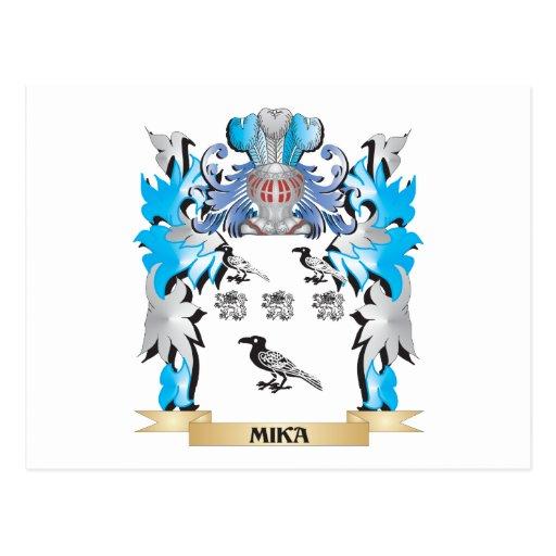 Escudo de armas de Mika - escudo de la familia Tarjeta Postal